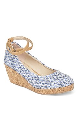 Vero Couture Blue & White Wedge Heeled Pumps