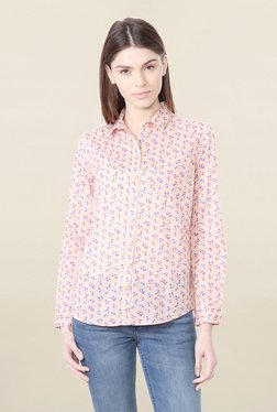Solly By Allen Solly Peach Regular Fit Floral Print Shirt