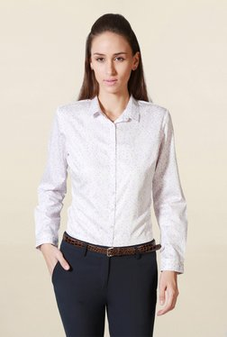 Solly By Allen Solly White Regular Fit Floral Print Shirt