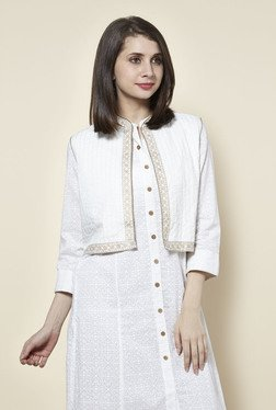05dec9669c10e7 Zudio Off White Floral Print Ethnic Jacket available at TatacliQ for Rs.499