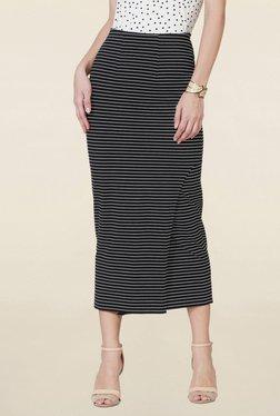 Solly By Allen Solly Black Striped Midi Skirt