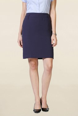 Solly By Allen Solly Navy Knee Length Skirt