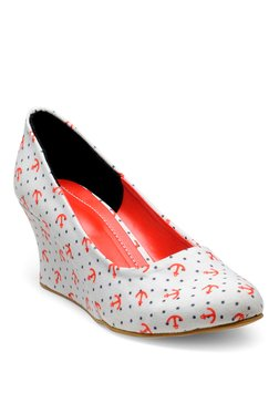 Nell White & Orange Wedge Heeled Pumps