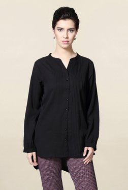 Solly By Allen Solly Black Solid Shirt Tunic