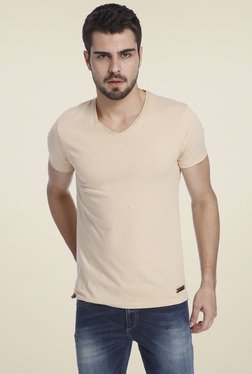Jack & Jones Beige V-Neck Slim Fit T-Shirt