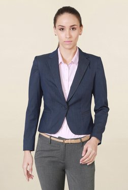 Solly By Allen Solly Navy Notched Lapel Textured Blazer