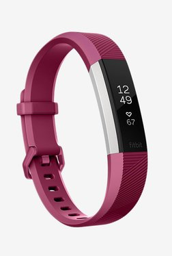 Fitbit Alta HR Fitness Tracker (Plum, Stainless Steel)Large