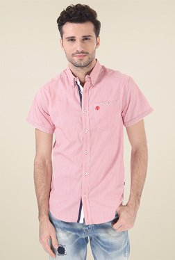 Jack & Jones Red Striped Short Sleeves Shirt