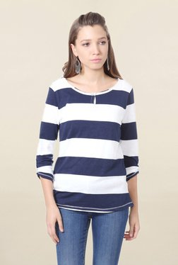 People Blue & White Striped T Shirt