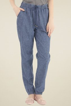 Pepe Jeans Blue Printed Mid Rise Trousers
