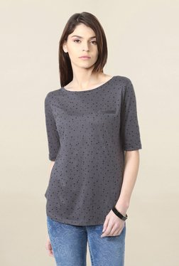 People Grey Polka Dot Top