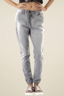 Pepe Jeans Light Grey Low Rise Cotton Jogger Jeans