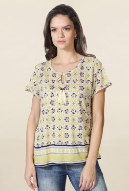 People Lime Floral Print Top