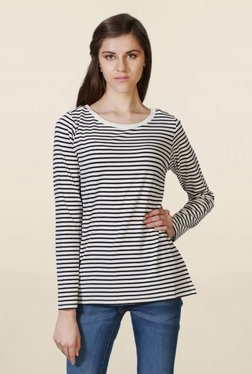 Solly By Allen Solly Off White & Black Striped Top