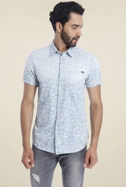 Jack & Jones Light Blue Cotton Short Sleeves Shirt