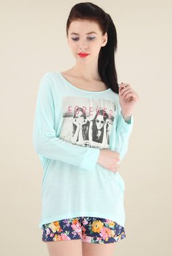 Pepe Jeans Mint Green Printed Full Sleeves Top
