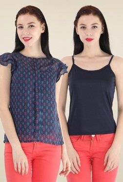 Pepe Jeans Navy Printed Top With Camisole