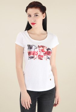 Pepe Jeans Off-White Round Neck Cotton T-Shirt