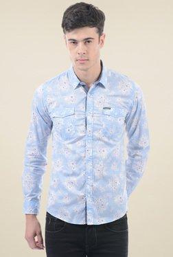 Pepe Jeans Light Blue Regular Fit Printed Shirt