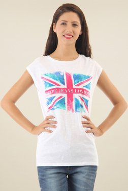 Pepe Jeans White Printed Short Sleeves Cotton T-Shirt