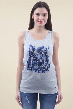 Pepe Jeans Grey Sleeveless Slim Fit Tank Top