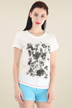 Pepe Jeans Off-White Printed Regular Fit Cotton T-Shirt