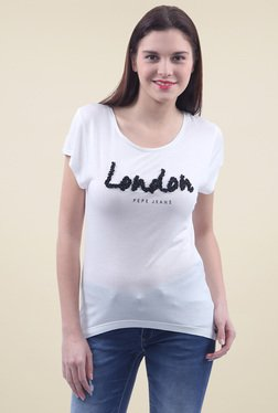 Pepe Jeans White Scoop Neck Cotton T-Shirt