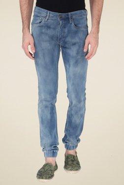 Jack & Jones Stone Blue Mid Rise Slim Fit Jogger Jeans