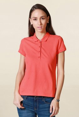 Solly By Allen Solly Coral Polka Dot Polo T Shirt