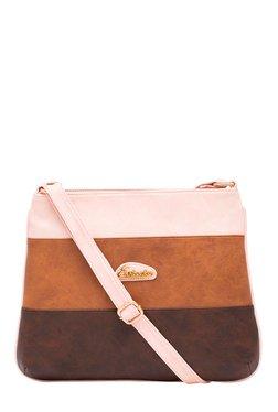 Esbeda Tan & Brown Color Block Sling Bag