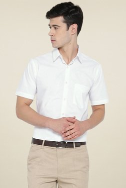 7b2d72dd5a346 Hancock White Half Sleeves Slim Fit Cotton Shirt