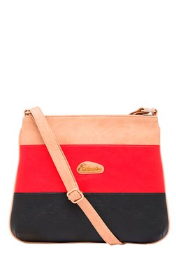 Esbeda Red & Black Color Block Sling Bag
