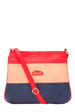 Esbeda Beige & Navy Color Block Sling Bag