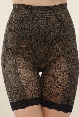 PrettySecrets Black Floral Print Hip & Thigh Shaper