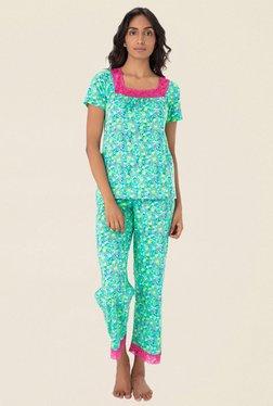 PrettySecrets Green Floral Print Pyjama Set
