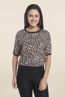 Only Brown Animal Print Top