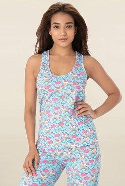 PrettySecrets Light Blue Printed Tank Top