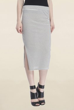 Only White Striped Midi Skirt