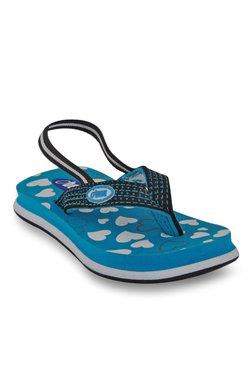 Beanz Little Hearts Black & Blue Back Strap Flip Flops