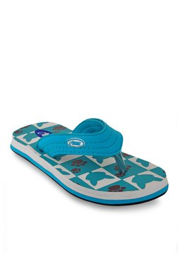 Beanz Splash Cat Teal Blue & White Flip Flops