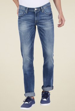 Lee Dark Blue Skinny Fit Heavily Washed Jeans
