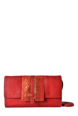 Baggit LW Cuddly Beads Scarlet Red & Golden Sling Bag