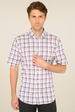 Greenfibre Cream Half Sleeves Checks Shirt