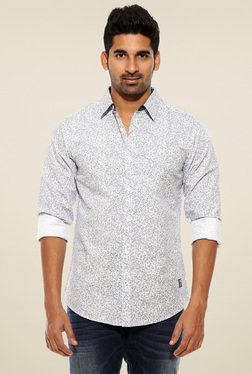 Spykar White Printed Slim Fit Shirt