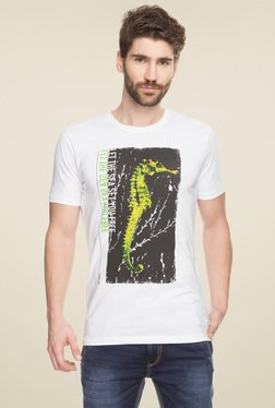 Spykar White Slim Fit T-Shirt