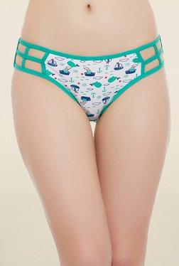 Clovia White & Green Printed Mid Waist Bikini Panty