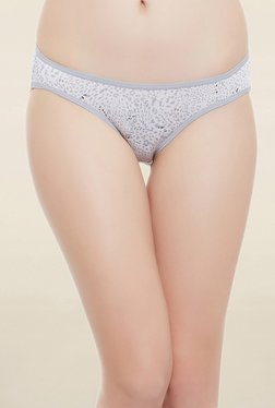 Clovia Grey Animal Print Low Waist Bikini Panty