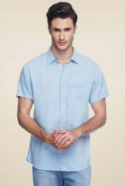 Spykar Light Blue Half Sleeves Slim Fit Shirt