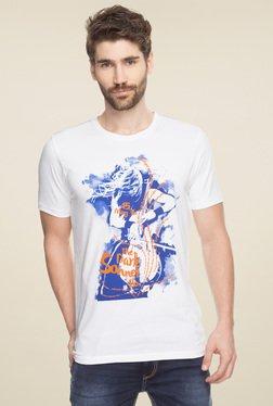 Spykar White Round Neck Printed T-Shirt