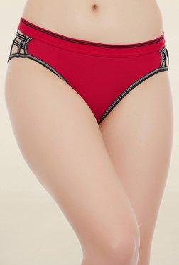 Clovia Red Solid Mid Waist Bikini Panty